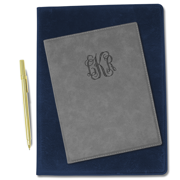 Small Center Monogram Leatherette Portfolio
