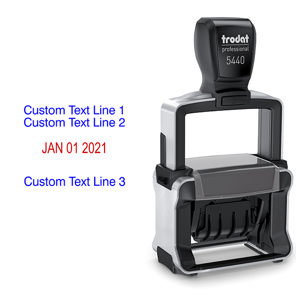 Trodat Professional 2 Top Lines 1 Bottom Date Stamp Body and Design