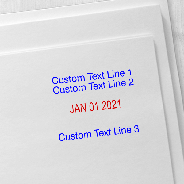 Trodat Professional 2 Top Lines 1 Bottom Date Stamp Imprint Example