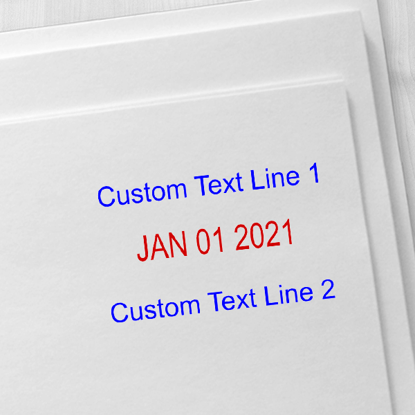 Trodat Professional Top and Bottom Line Custom Dater Stamp Imprint Example