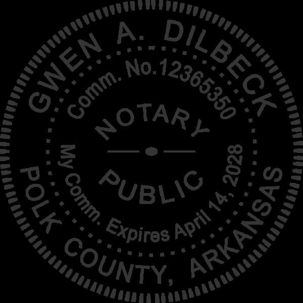 Arkansas Notary Pink - Round Design Imprint Example