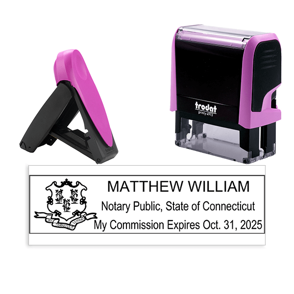Connecticut Notary Pink Stamp - Rectangle