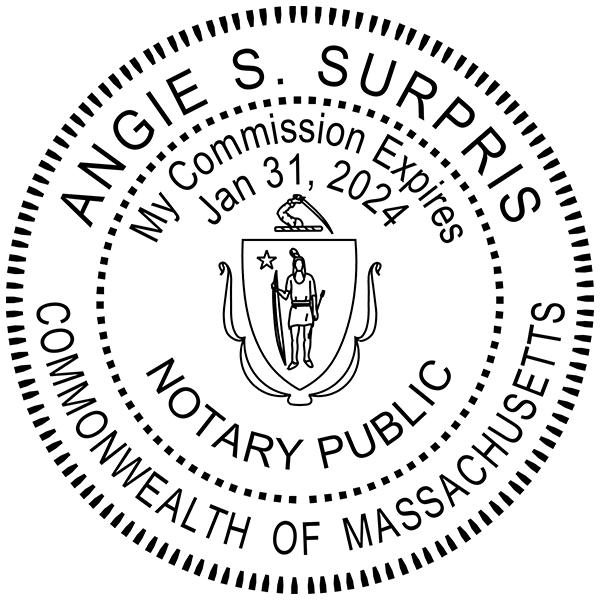 Massachusetts Notary Pink - Round Design Imprint Example