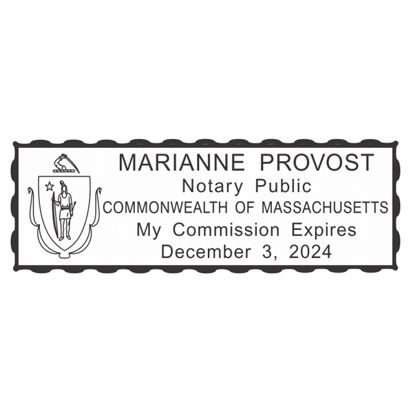 Massachusetts Notary Pink Stamp - Rectangle Imprint Example