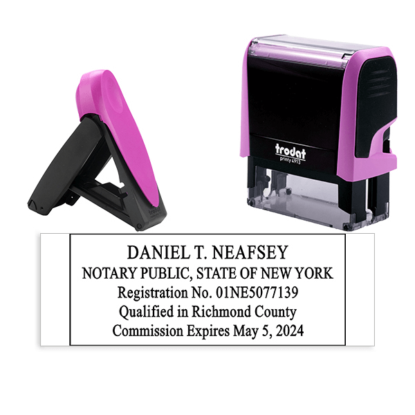 New York Notary Pink Stamp - Rectangle