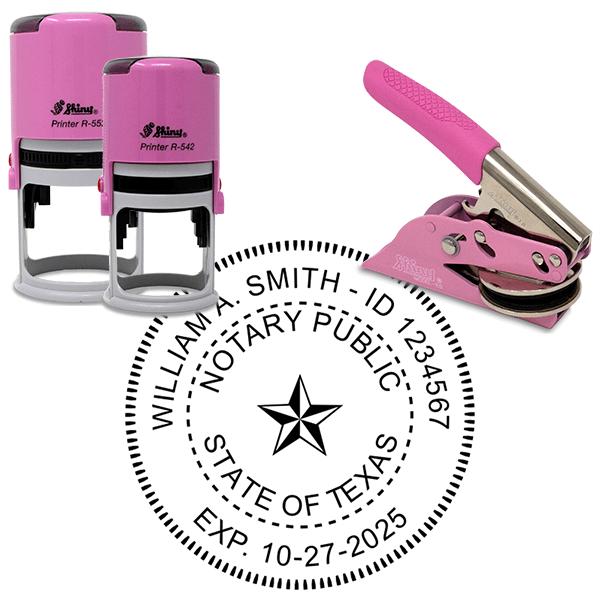 Texas Notary Pink - Round Design