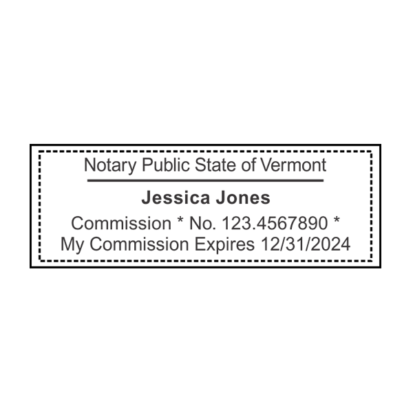 Vermont Notary Pink Stamp - Rectangle Imprint Example