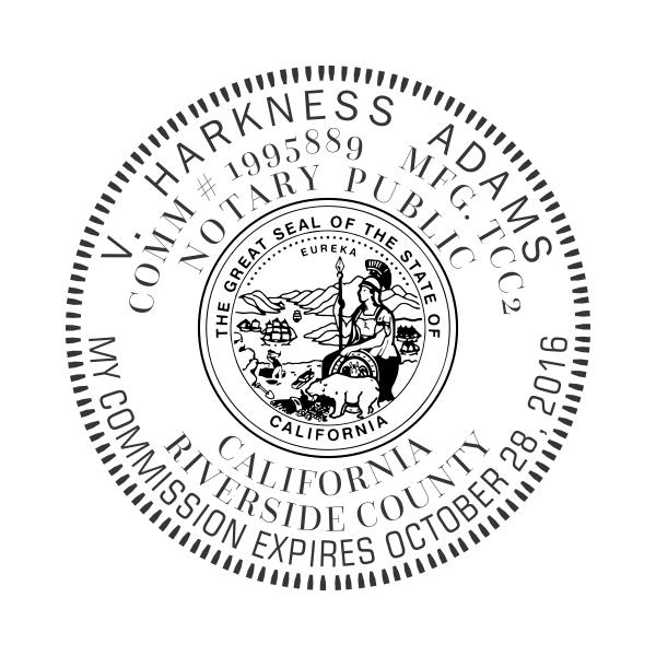 California Notary Round Design Imprint Example