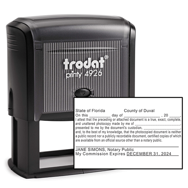 Florida Certified True Copy Notary Stamp