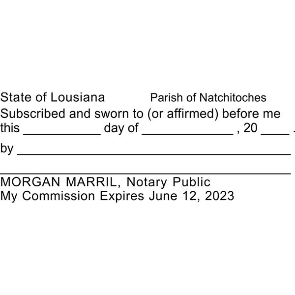 Louisiana Jurat Notary Stamp Imprint Example