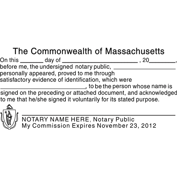 Massachusetts Acknowlegment Notary Stamp Imprint Example