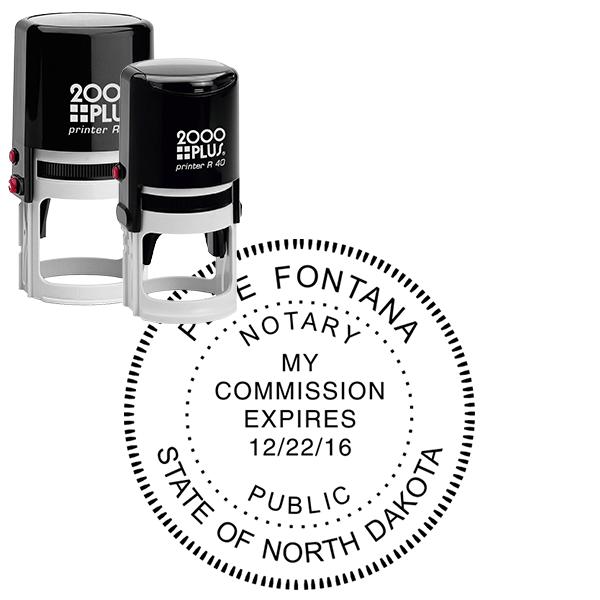 North Dakota Notary Stamp - Round