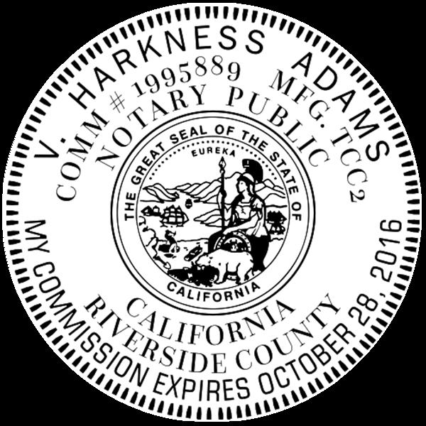 California Notary Pink - Round Design Imprint Example