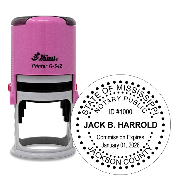 Mississippi Notary Pink Stamp - Round