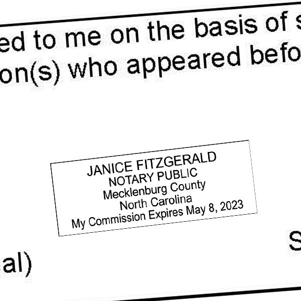 North Carolina Notary Rectangular Imprint