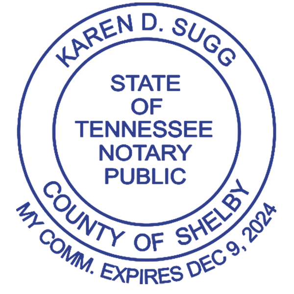 Tennessee Notary Round with Date Below Circle Imprint