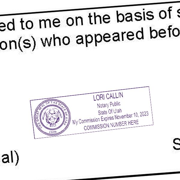 Utah Notary Rectangle Imprint