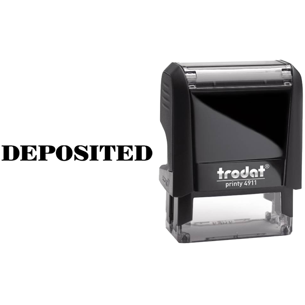 DEPOSITED Mobile Check Deposit Rubber Stamp Body and Design