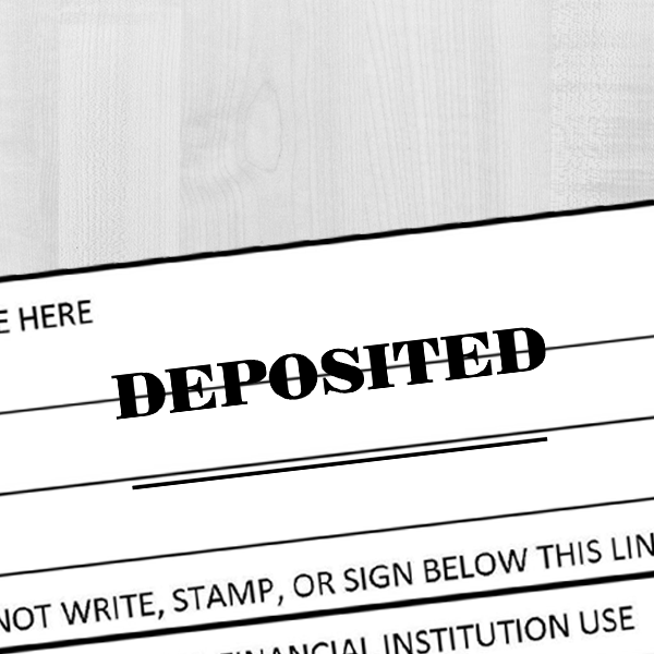 DEPOSITED Date Space Mobile Check Deposit Rubber Stamp Imprint Example