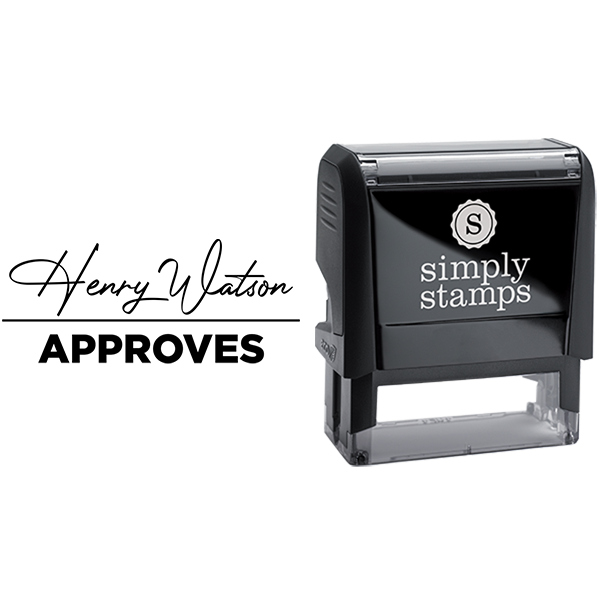 Approved with Custom Signature Text Business Stamp