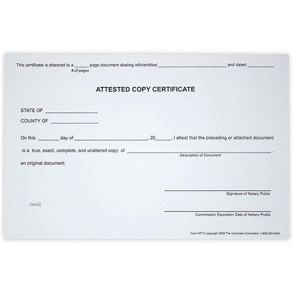 Attested Copy Notary Certificates