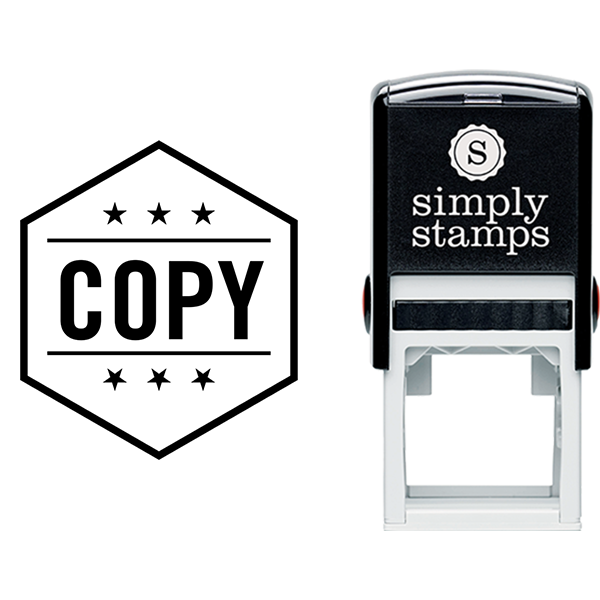Hexagon with Stars Copy Business Stamp