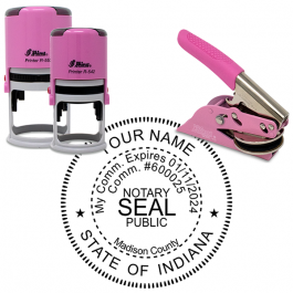 Indiana Round Pink Notary Seal
