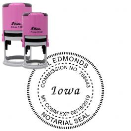 Iowa Round Pink Notary Seal