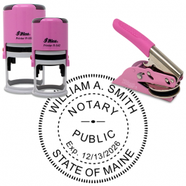 Maine Round Pink Notary Seal
