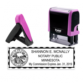 Minnesota Pink Rectangle Notary Stamp