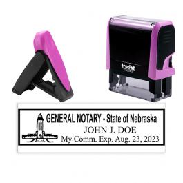 Nebraska Pink Rectangle Notary Stamp