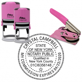 New York with County and Expiration Round Pink Notary Seal