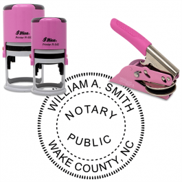 North Carolina Round Pink Notary Seal
