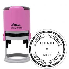 Puerto Rico Pink Round Notary Stamp