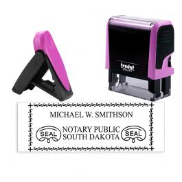 South Dakota Pink Rectangle Notary Stamp