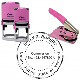 Vermont Round Pink Notary Seal