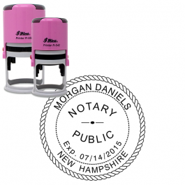 New Hampshire Pink Round Notary Stamp