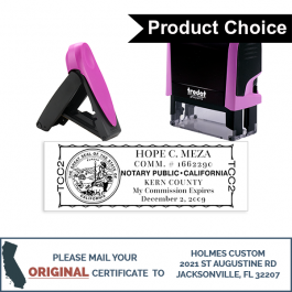 California Pink Rectangle Notary Stamp