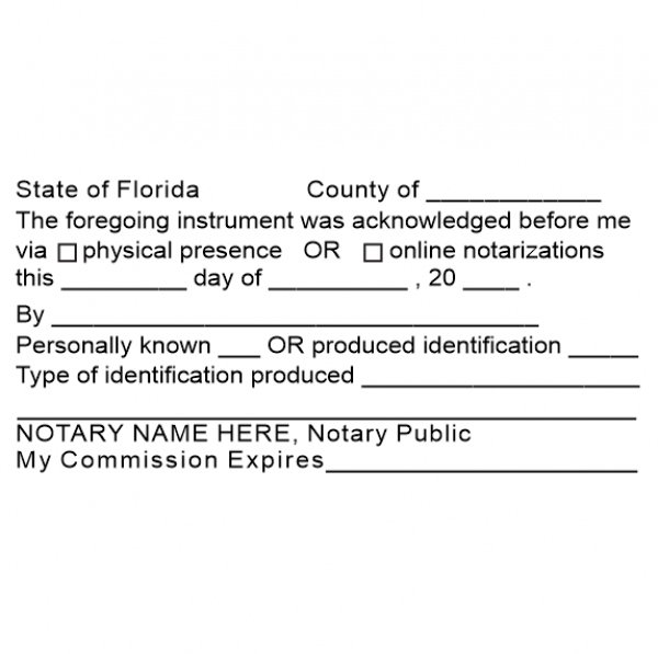 Florida Acknowledgment Notary Stamp