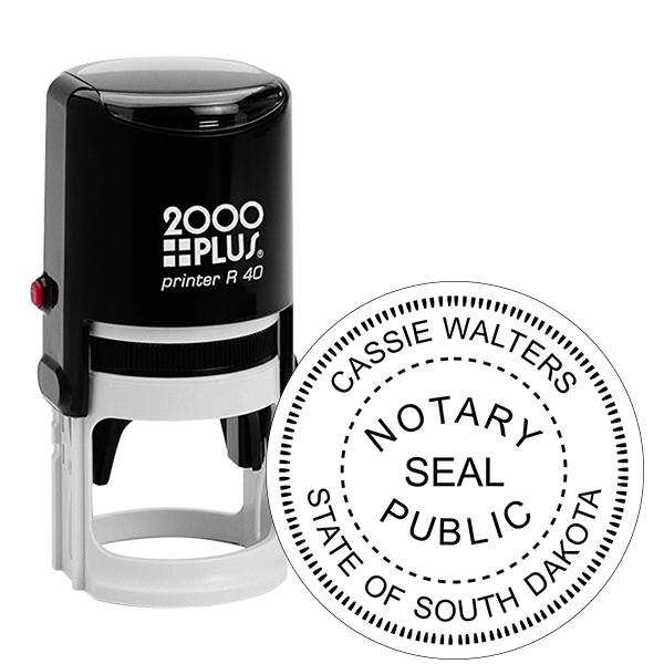 South Dakota Notary with Seal Round Stamp