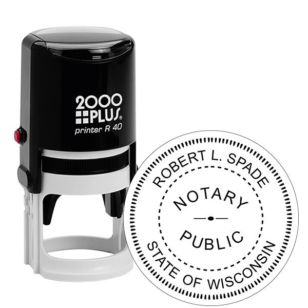 Wisconsin Notary Round  Stamp