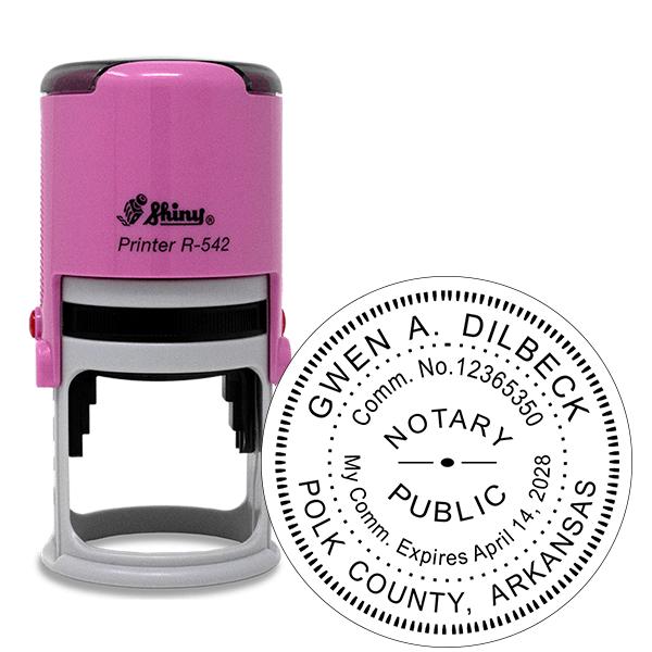 Arkansas Notary Pink Stamp - Round