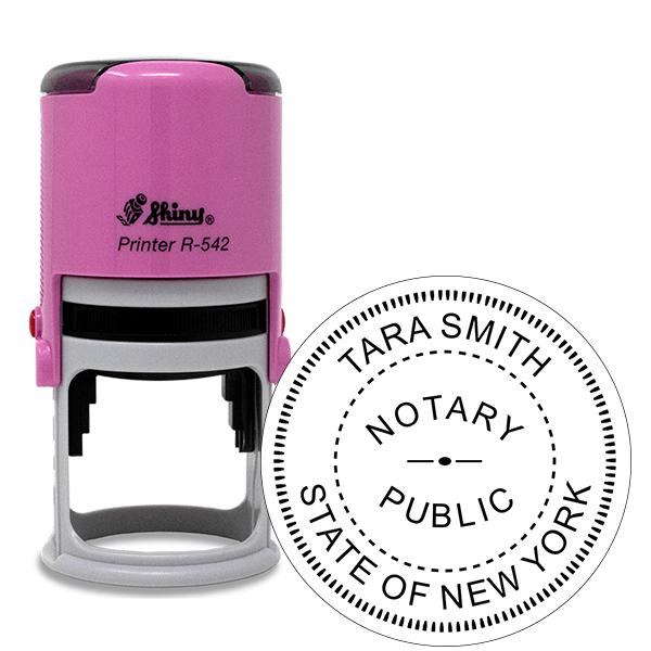 New York Notary Pink Stamp - Round