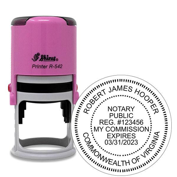 Virginia Notary Pink Stamp - Round