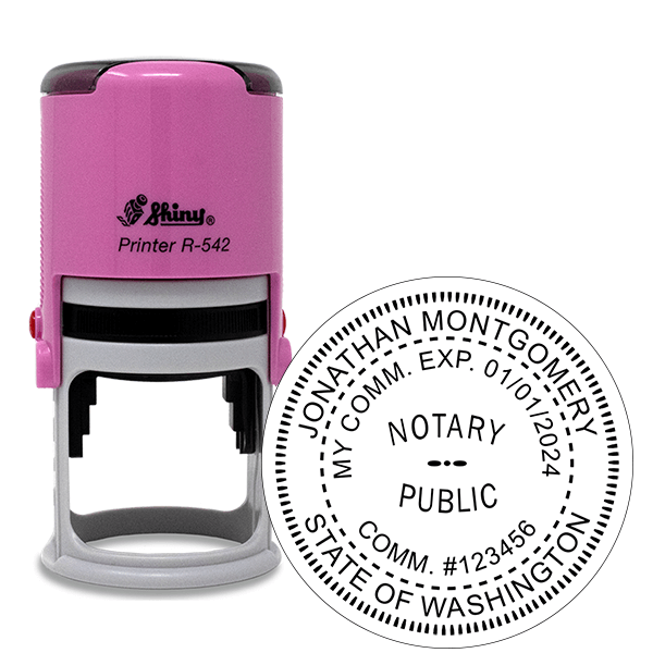 Washington Notary Pink Stamp - Round