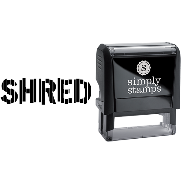 Shred in Vertical Shredded Text Business Stamp