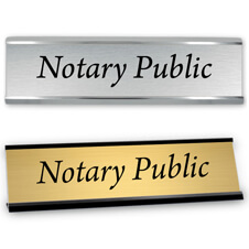 Notary Public Desk Name Plate